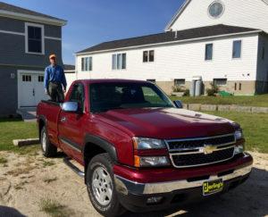 Sam's red truck